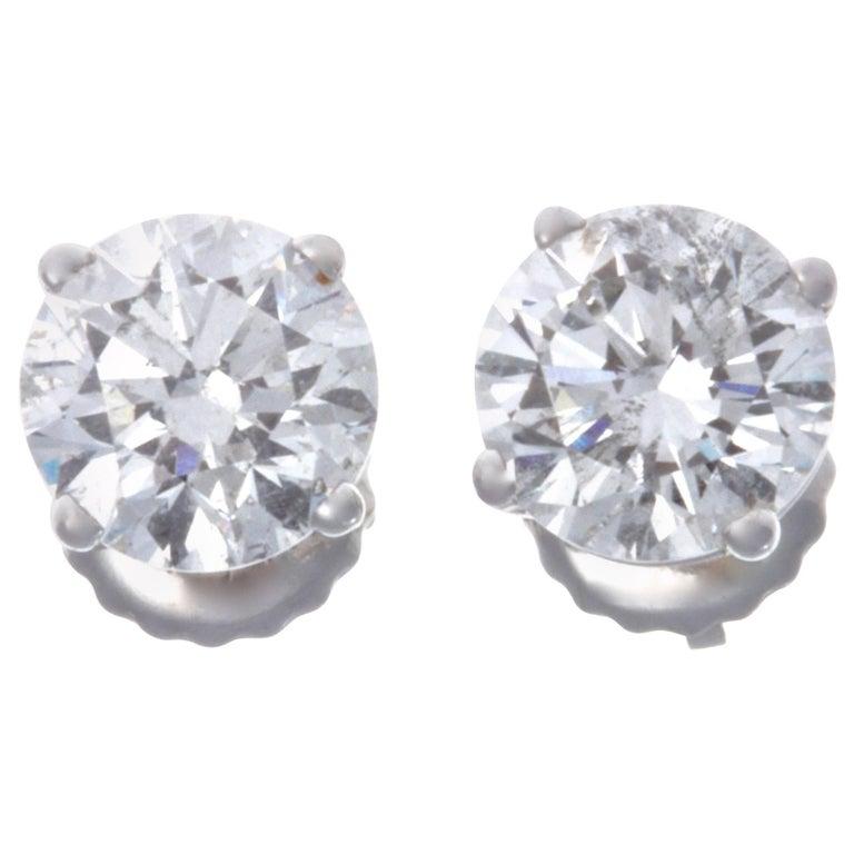 Diamond 14 Karat White Gold Stud Earrings For Sale