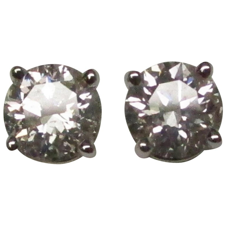 Diamond 14 Karat White Gold Stud Earrings For Sale