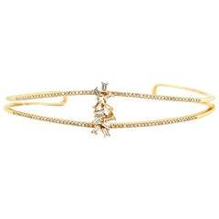 Diamond 14 Karat Yellow Gold Bangle