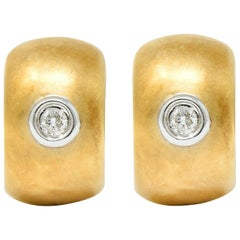 Diamond 14 Karat Yellow Gold Huggie Earrings