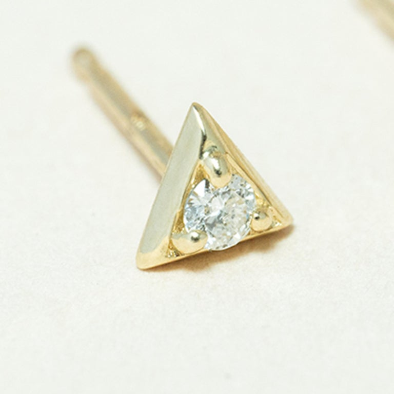 Contemporary Diamond 14 Karat Gold Formation Triangle Mini Stud For Sale