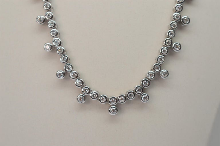 Modern Diamond & 14K White Gold Collar Necklace For Sale