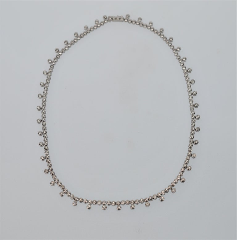 Diamond & 14K White Gold Collar Necklace In Excellent Condition For Sale In Mount Kisco, NY