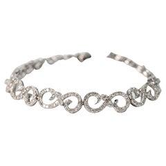 Diamond 14K White Gold Fancy Swirl Link Bracelet