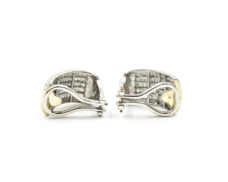 Designer: custom design Material: 14k white gold Diamonds: 112 baguette diamonds Dimensions: each earring is 3/4-inch long and 1/2-inch wide Fastenings: omega backs Weight: 7.3 grams