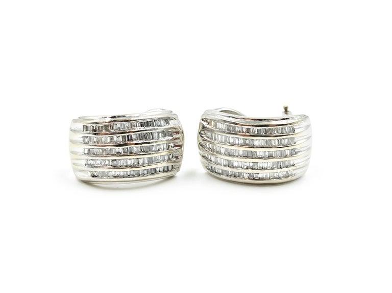 Baguette Cut Diamond 14 Karat White Gold Huggie Earrings For Sale