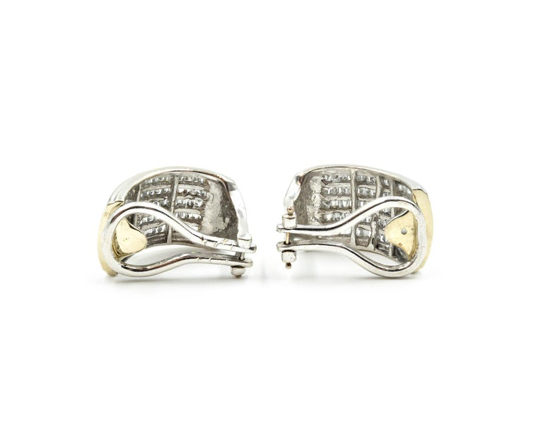 Diamond 14 Karat White Gold Huggie Earrings In Excellent Condition For Sale In Scottsdale, AZ