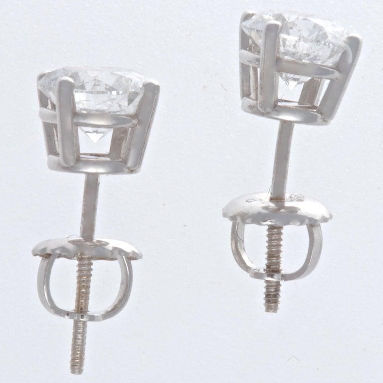 Round Cut Diamond 14 Karat White Gold Stud Earrings For Sale