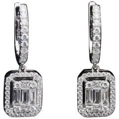 Diamond 1.5 Carat Emerald Illusion Earring in 18 Karat Gold