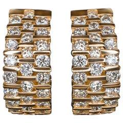 Diamond 2 Carat Huggie Earrings Yellow Gold Hoops