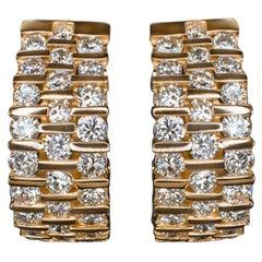 Diamond 1.5 Carat Huggie Earrings Yellow Gold Hoops