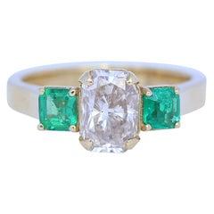 Diamond 1.59 Carat Two Emeralds 18 Karat Yellow Gold Engagement Ring