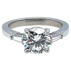 Diamond 1.72 Carats Engagement Ring with Tapered Baguettes
