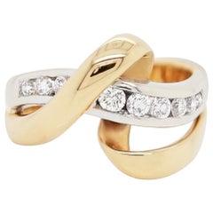 Diamond 18 Carat White and Yellow Gold Dress Twist Ring