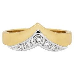 Diamond 18 Carat White and Yellow Gold Wishbone Ring