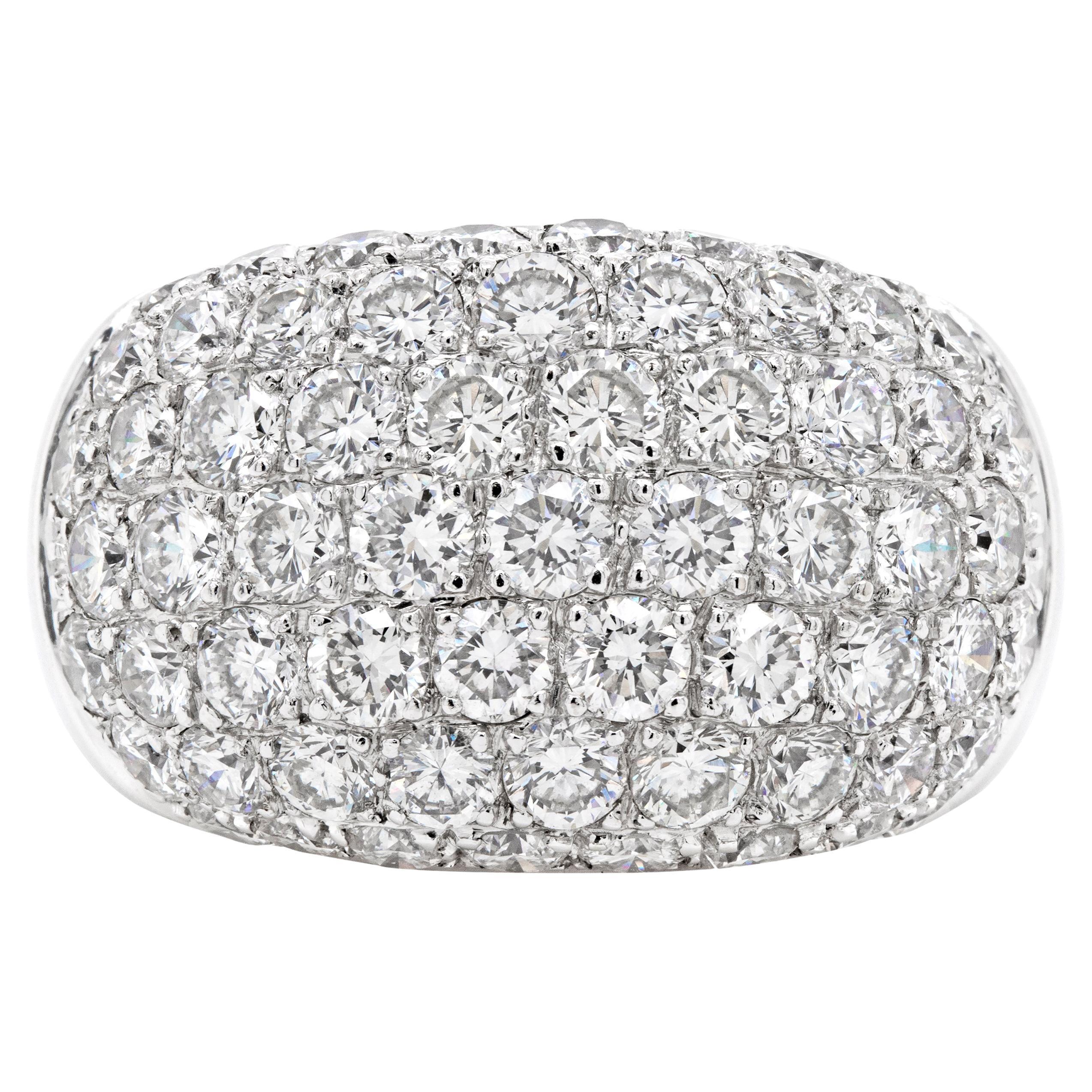 Diamond 18 Carat White Gold Bombé Cluster Dome Cocktail Ring