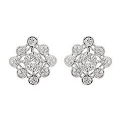 Diamond 18 Carat White Gold Cluster Stud Earrings