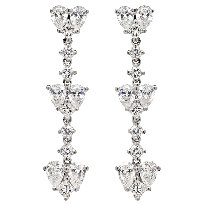 Diamond 18 Carat White Gold Heart Drop Earrings