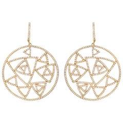 Diamond 18 Carat Yellow Gold Geometric Dress Earrings