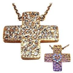 Diamond 18 kt Yellow Gold Pendant Necklace Love Heart Cross DIAMONDS in the SKY