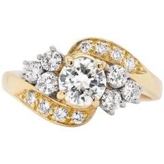 Diamond 18 Carat Yellow Gold Twist Engagement Ring