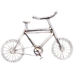 Diamond 18 Karat Gold Bicycle Brooch
