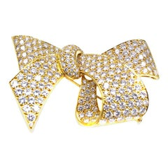 Diamond 18 Karat Gold Bow Brooch