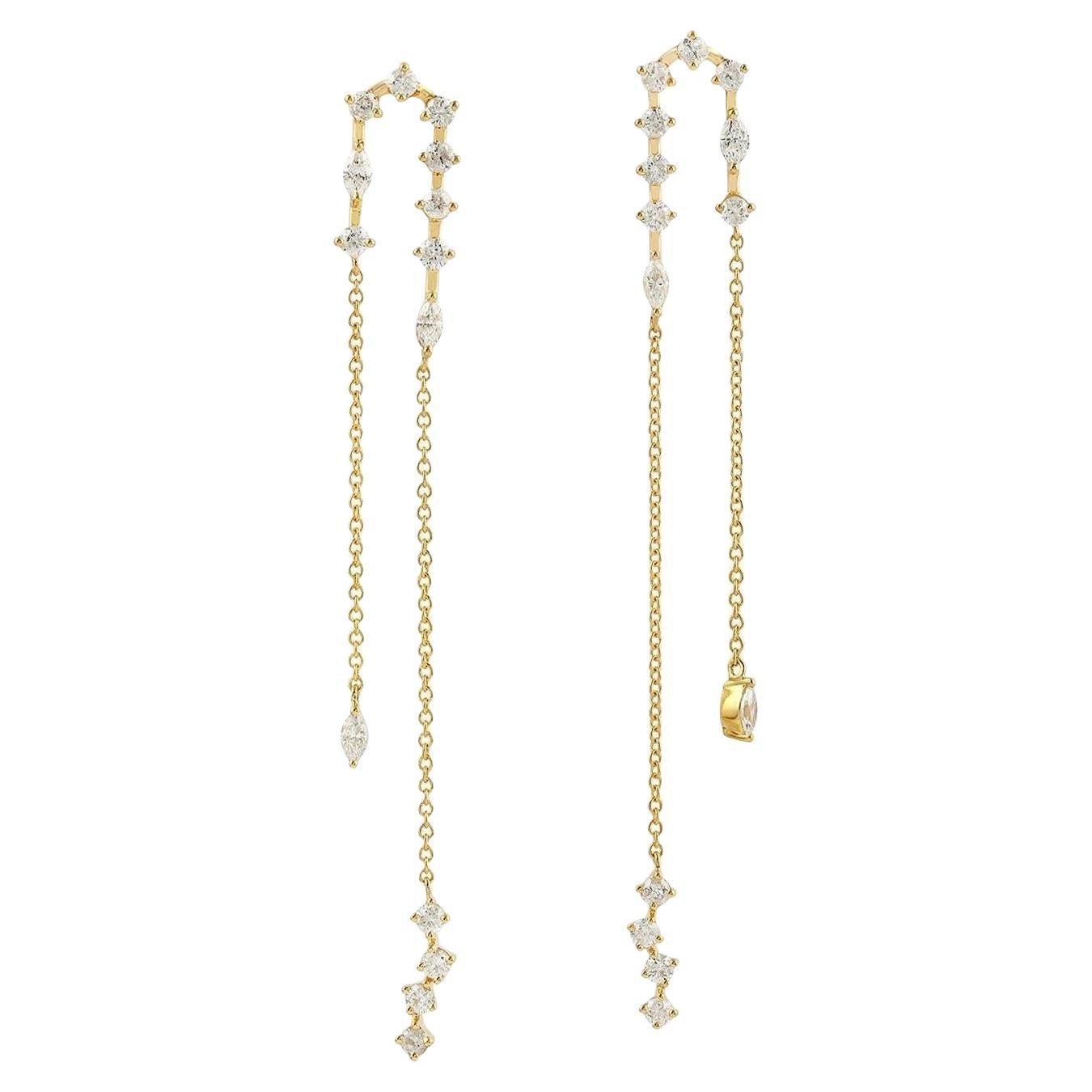 18 Karat Gold Diamond Chain Drop Earrings