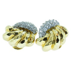 Diamond 18 Karat Gold Clip Earrings