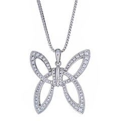 Round Diamond Butterfly Pendant Necklace By Di Modolo 18k White Gold In Stock
