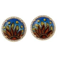 Diamond 18 Karat Gold Enamel Stud Earrings