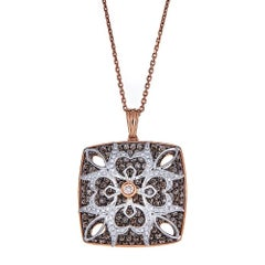 2.63 TCW White and Chocolate Diamond Pendant in 18k gold by Gregg Ruth In Stock