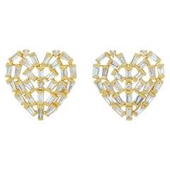 Diamond 18 Karat Gold Heart Stud Earrings