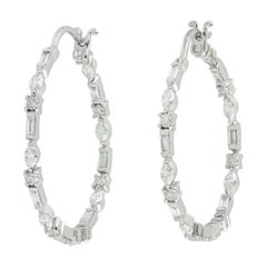 Diamond 18 Karat Gold Hoop Earrings