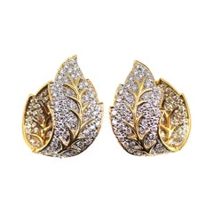Diamond 18 Karat Gold Leaf Earrings
