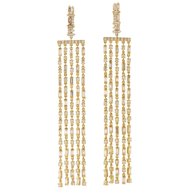 18 Karat Gold Diamond Fringe Earrings