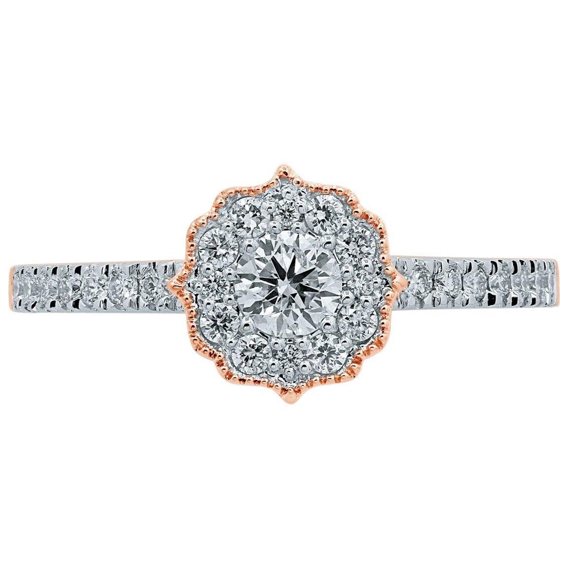 Diamond 18 Karat Gold Riviera Engagement Ring
