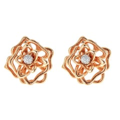 Diamond 18 Karat Gold Roberto Coin Flower Earrings