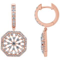 Diamond 18 Karat Gold Snowflakes Drop Earrings