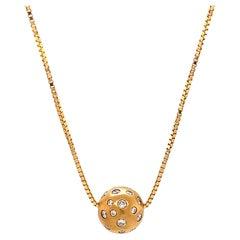 Diamond 18 Karat Gold Sphere Necklace