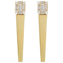 Diamond 18 Karat Polished Yellow Gold Icicle Earrings
