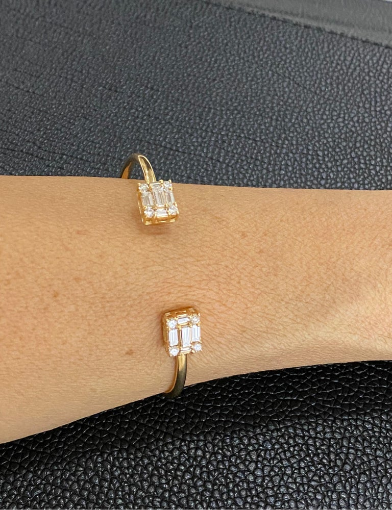 Our dual cube bangle bracelet is a perfect everyday choice. It's open design simply slips on & off and is so comfortable many of our clients sleep in it. It also layers beautifully other MMNY Clarity Bracelets or one in your own collection for more