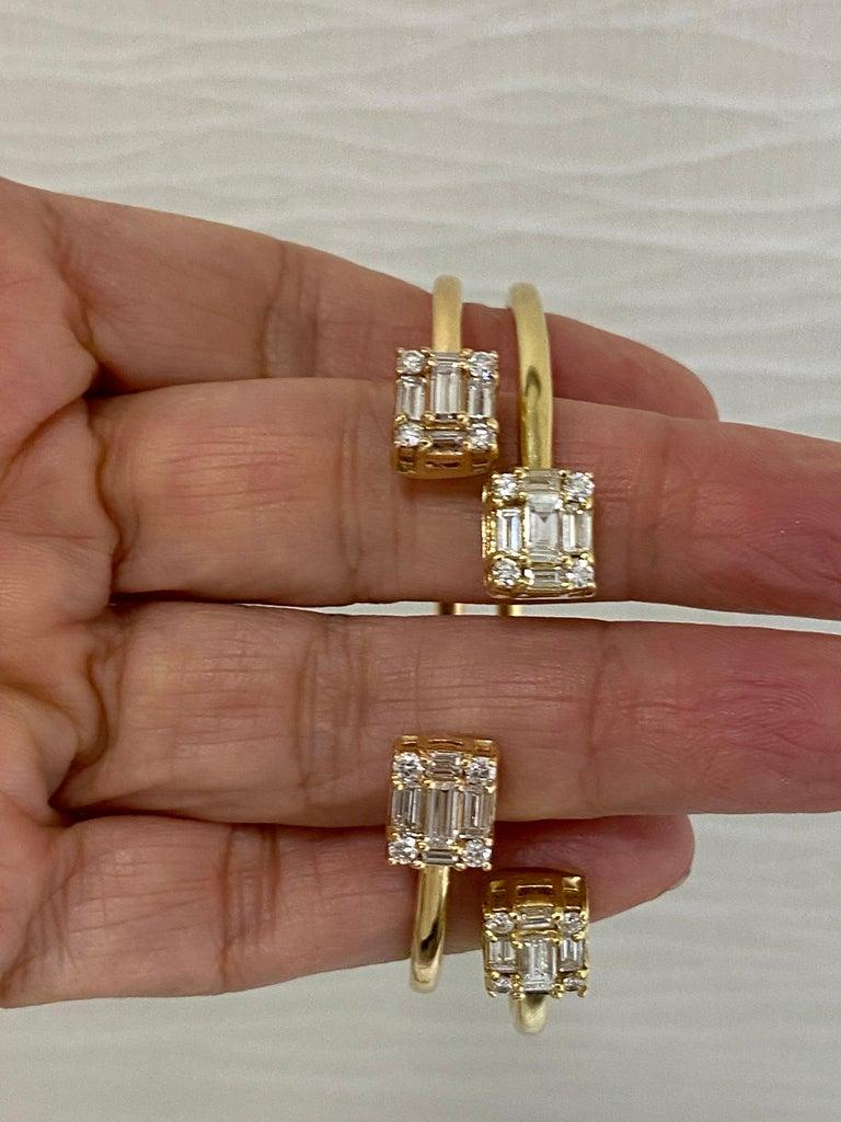 Mixed Cut Diamond 18 Karat Rose Gold Bangle Bracelet For Sale