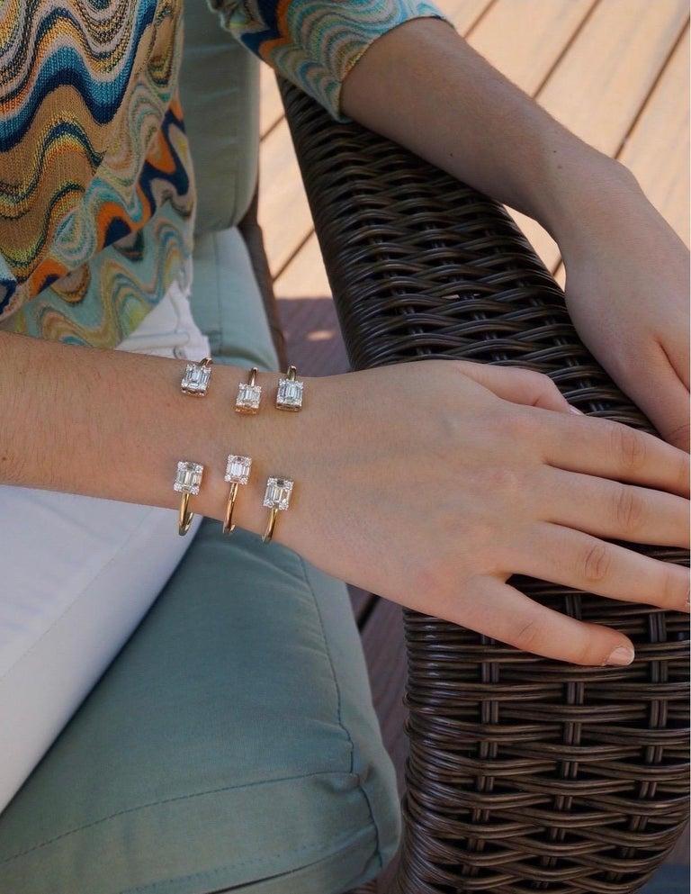Women's or Men's Diamond 18 Karat Rose Gold Bangle Bracelet For Sale