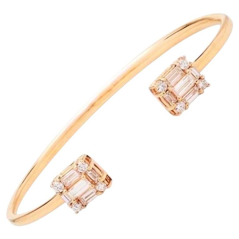 Diamond 18 Karat Rose Gold Bangle Bracelet For Sale