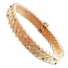 Diamond 18 Karat Rose Gold Woven Flexible Bangle Bracelet