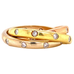 Diamond 18 Karat Tricolor Rolling Band Ring White Yellow Rose Gold