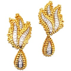 Diamond 18 Karat Two-Tone 18 Karat Gold Leaf Drop Earrings