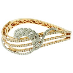 Diamond 18 Karat Two-Tone Gold Bangle