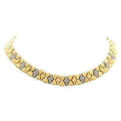 Diamond 18 Karat Two-Tone Gold Collar Necklace